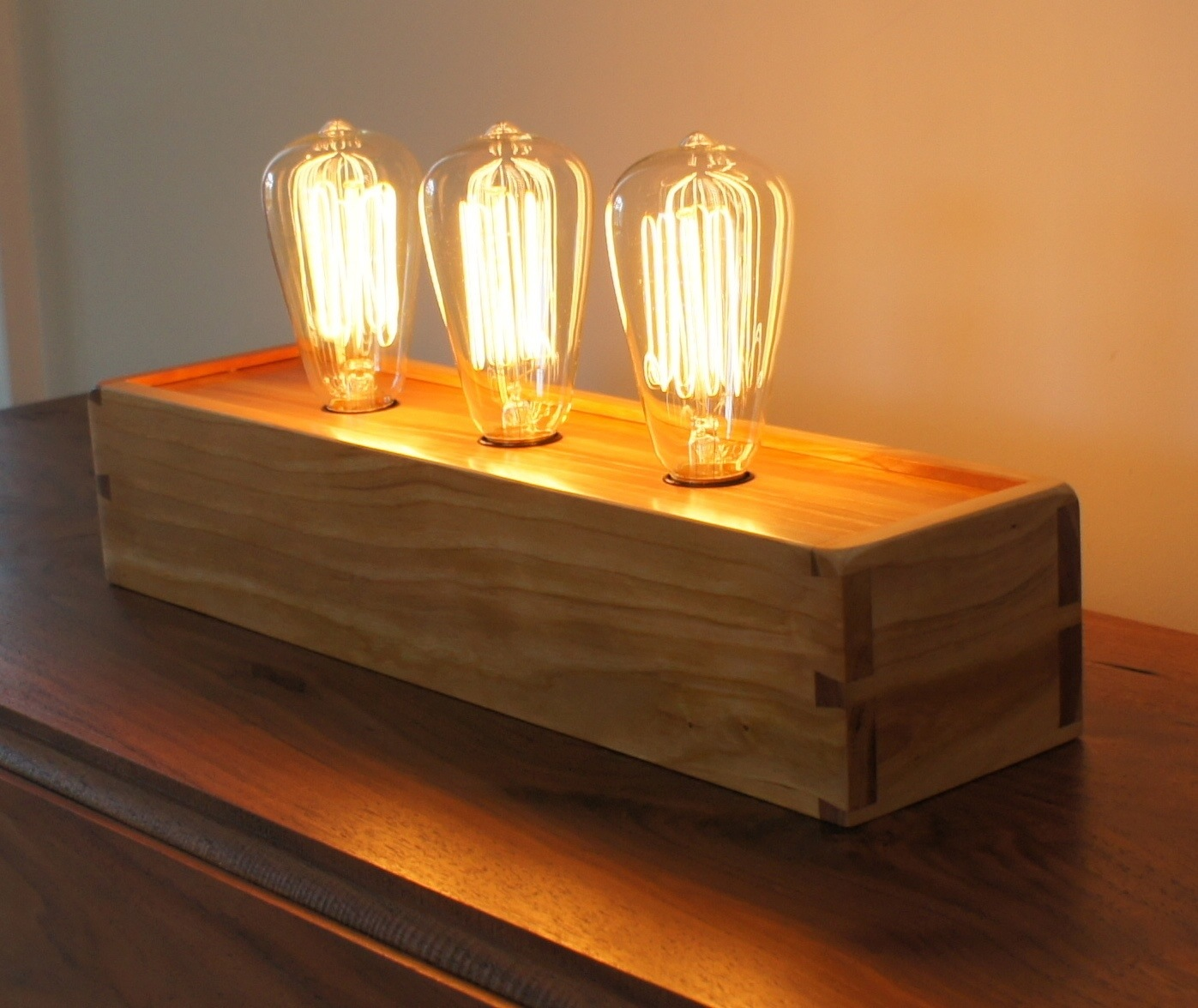 Finished 3 Bulb Cherry Edison Lamp